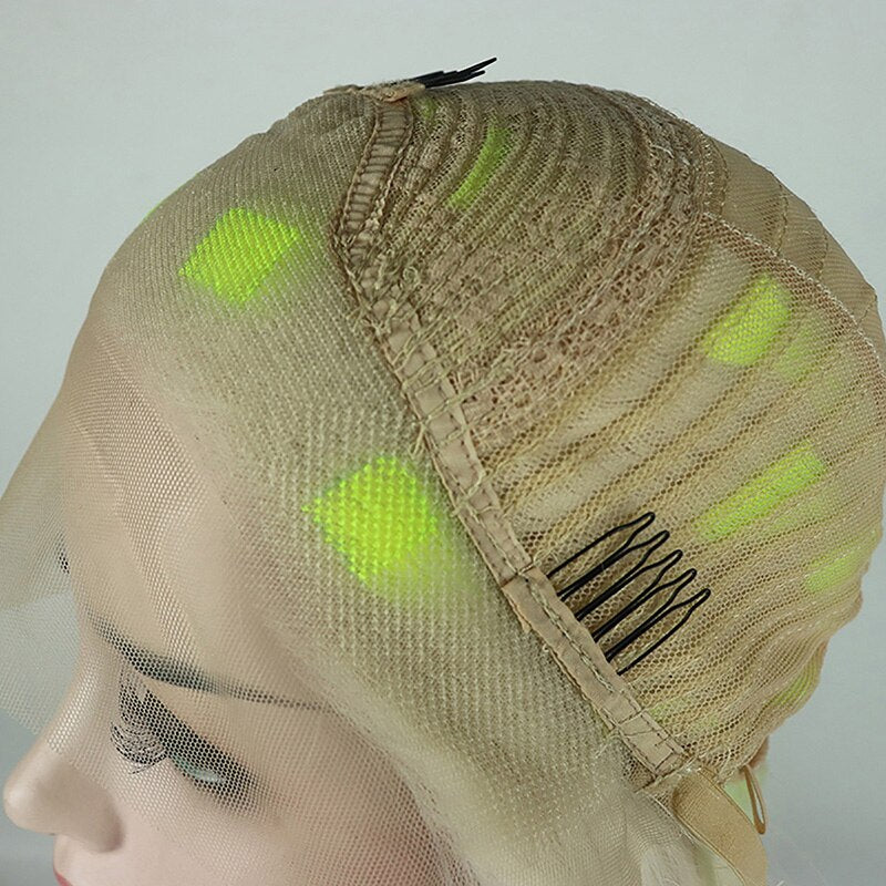 Ladiesstar Fashion Looking Blonde Mixed Bright Yellow Synthetic Lace Front Wig For Women Party Wigs/Free Shipping