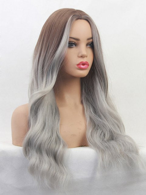 Foxwigs Lace Front Wigs Gradient Body Wave Long Center Part Hair Wig