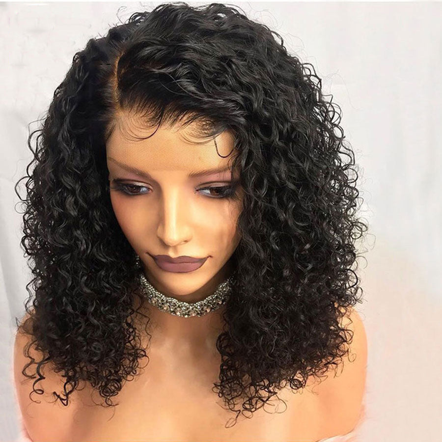 Brazilian Less Lace Front Full Wig Bob Wave Black Natural Women Wigs