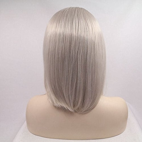 Ladiesstar Ash Blonde Short Bob Hair Women Wigs Silver Platinum Short Straight Synthetic Lace Front Wigs Heat Resistant/Free Shipping