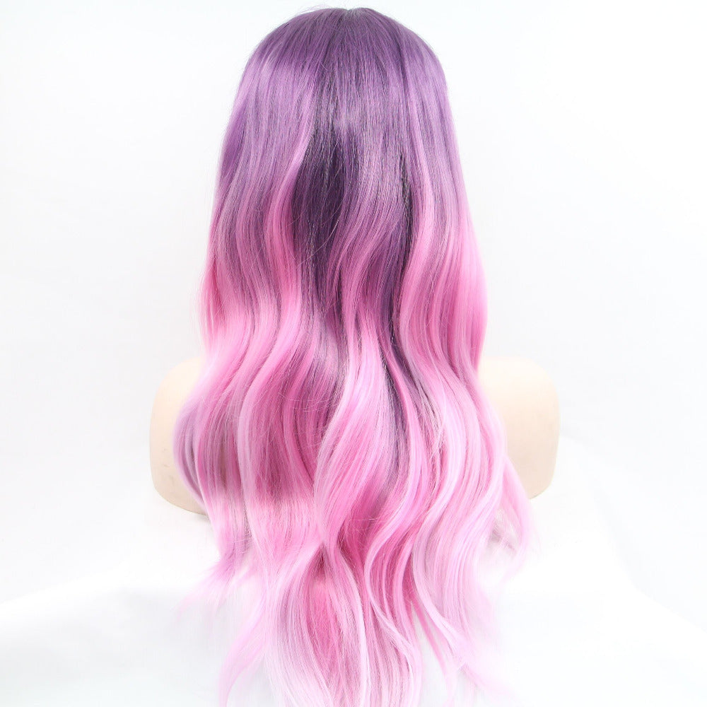 Ladiesstar Pink Purple Synthetic Lace Front Wigs Long Wavy Lace Front Ombre Pink Wig For Women/Free Shipping