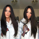 Long straight black lace front wig for women