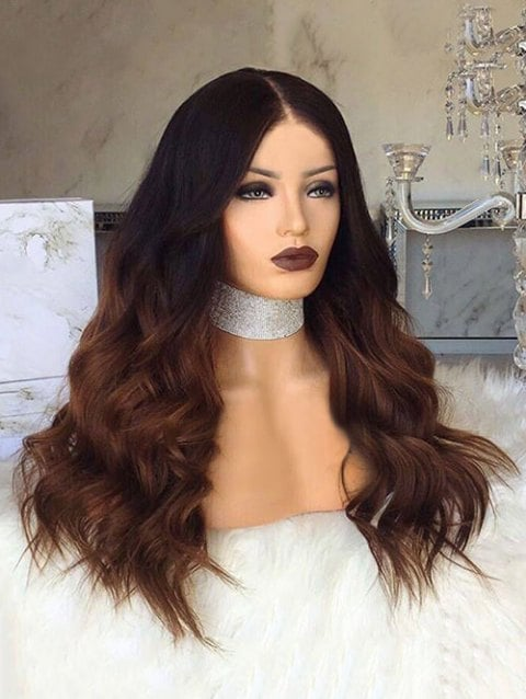 Foxwigs Lace Front Wigs Long Center Parting Gradient Natural Wave Hair Wig/Free Shipping