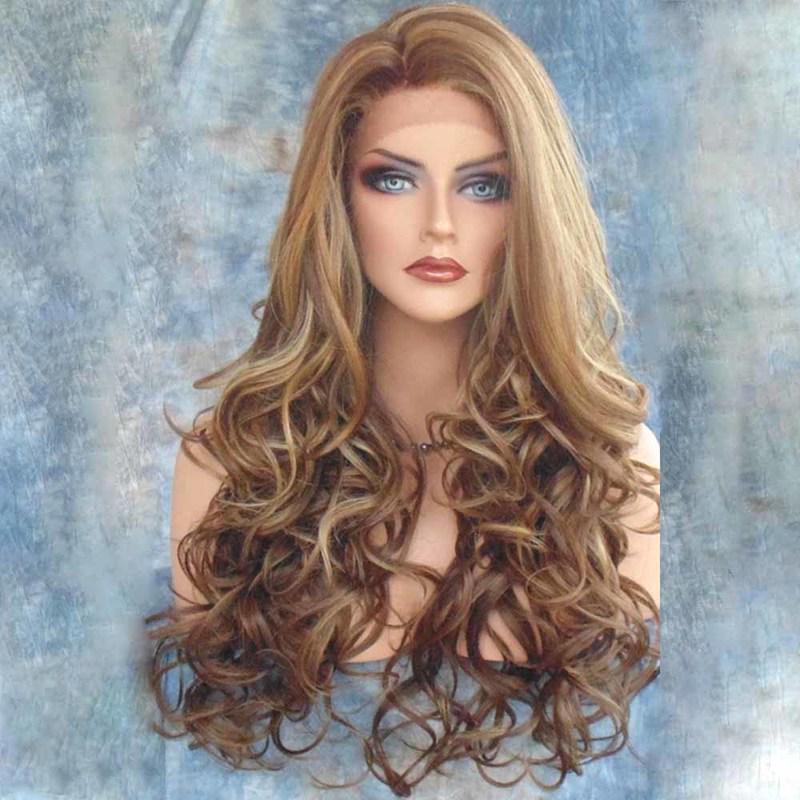 me Long Lace Front Wig Women Sexy Curly Big Spiral Wave Hair