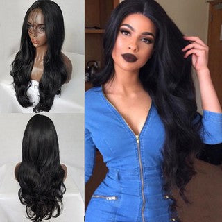 Women's Fashion Wig Front lace Black Synthetic Hair Long Wigs Wave Curly Wig