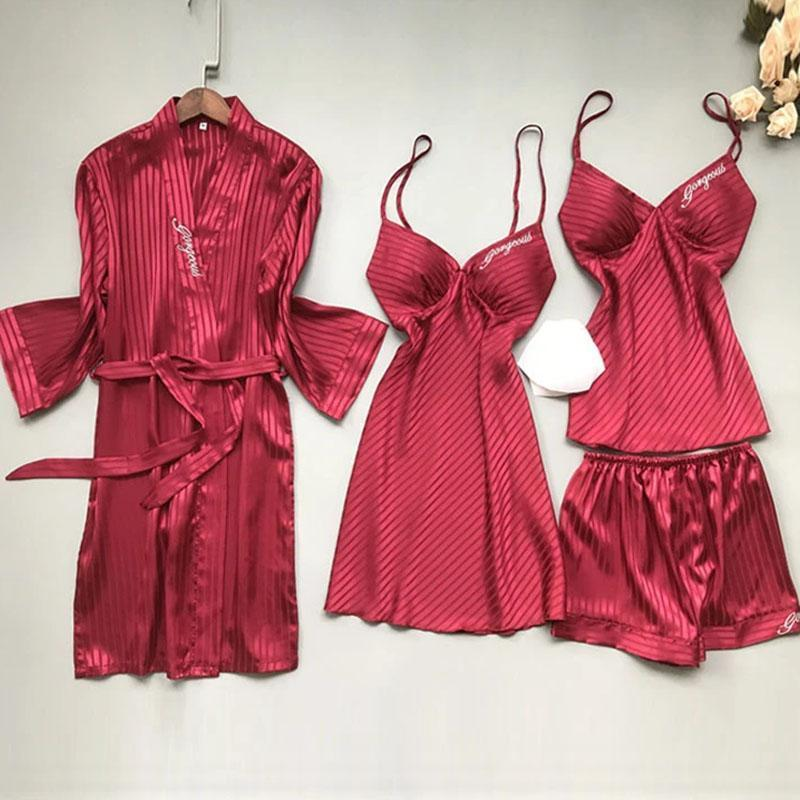 Long Sleeves Satin Embroidery 4 Pieces Lingerie Sleepwear Set/Free Shipping