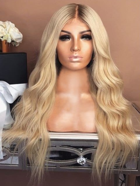 Center Parting Long Natural Wavy Capless Synthetic Wig