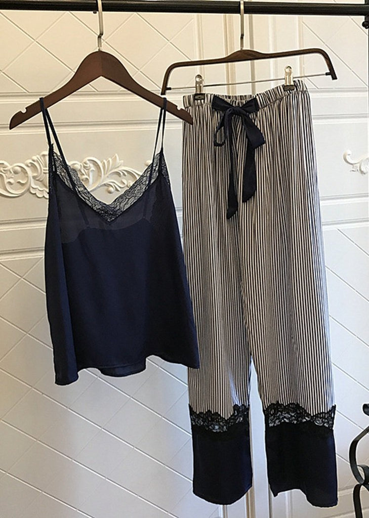 Silk Striped Printing Camisole Long Pant Sleepwear Set 2 Pieces/Free Shipping