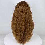 Ladiesstar Long Water Wave Curly Honey Blonde Heat Safe Fiber Hair Lace Front Wig Glueless Full Wig For Fashion Women