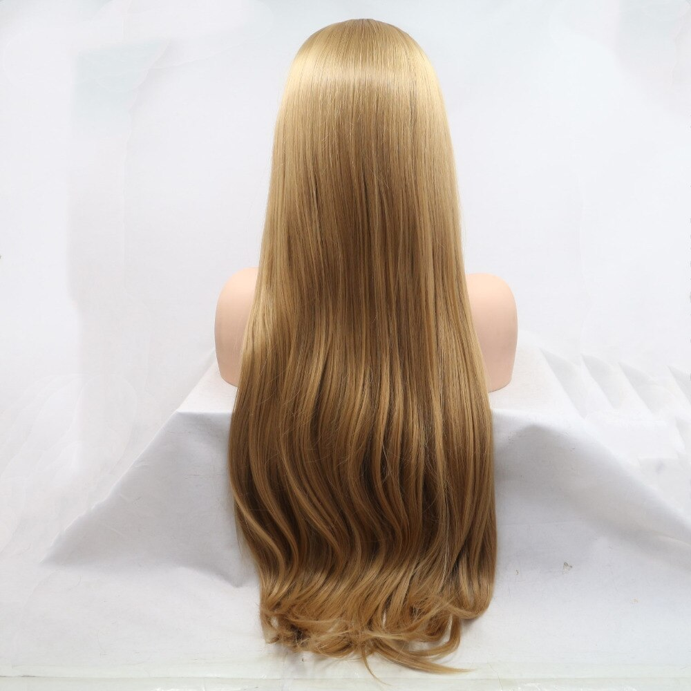 Ladiesstar Long Straight Heat Resistant Fiber Synthetic Lace Front Honey Blonde Wig Natural Looking Lace Wigs For Women