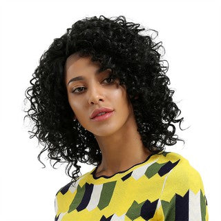 Glueless Resistant Lace Front Women Black Curls Hair Full Wig