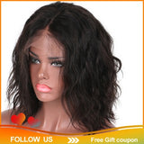 ?Ready Stock?Short Bob Lace Front Wigs Human Hair Natural Wave Non-Remy Black
