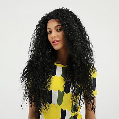 Curly Style Side Part Lace Front Wig Black Natural Black Synthetic Hair/Free Shipping