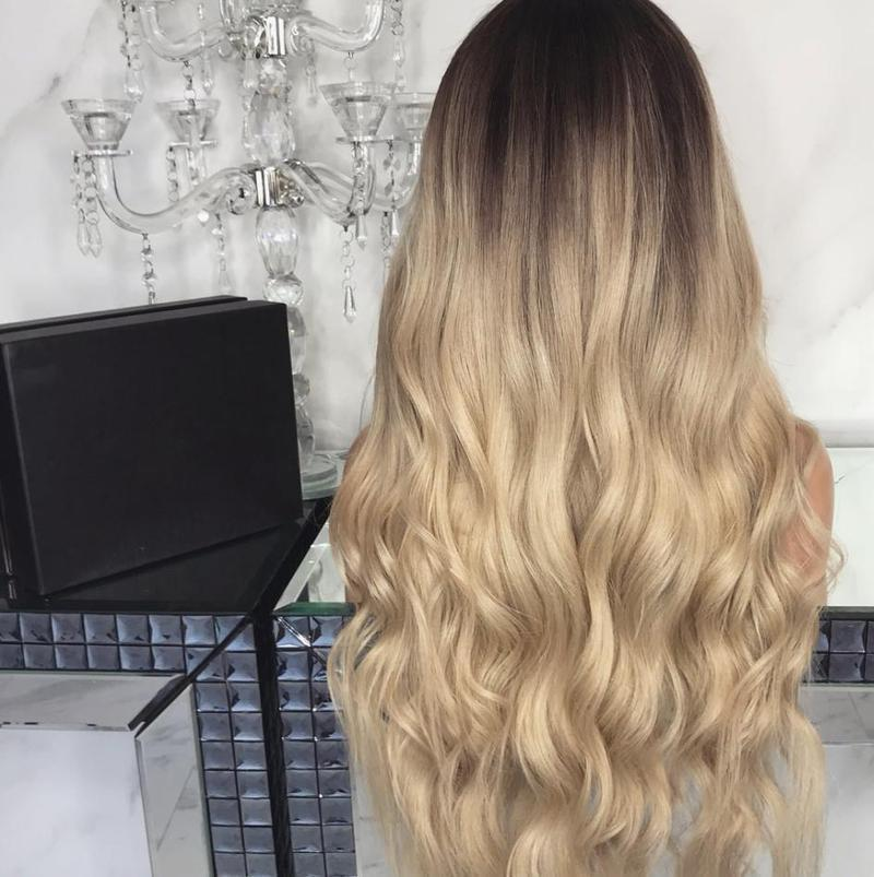 Gradual Champagne color Long Hair For Wedding/Free Shipping
