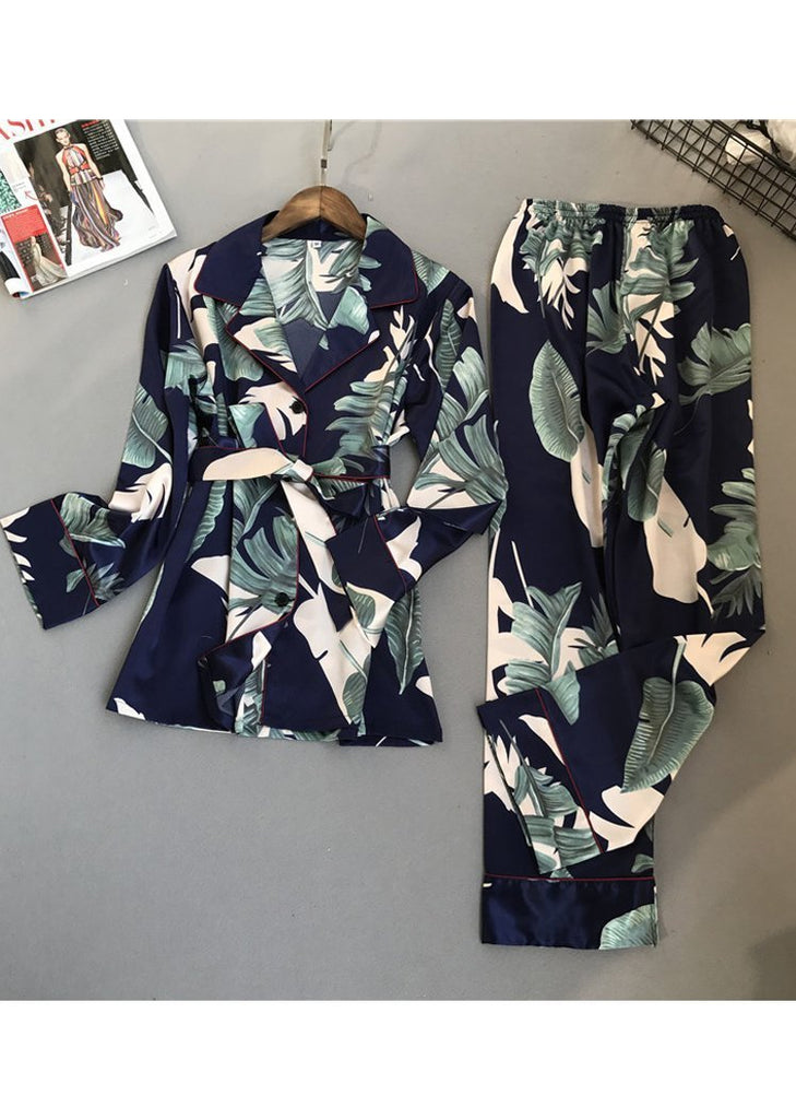 Printing Silk Long Sleeve Sleepwear Set/Free Shipping
