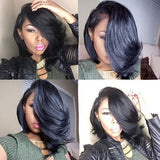 Wigsfox Middle Part Wavy Bob Wigs For African American Women/Free Shipping