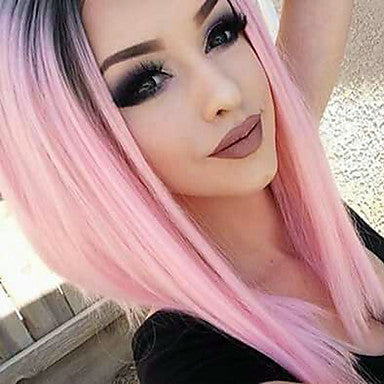 Straight Style Bob Lace Front Wig Pink Pink Synthetic Hair Women's Middle Part Bob