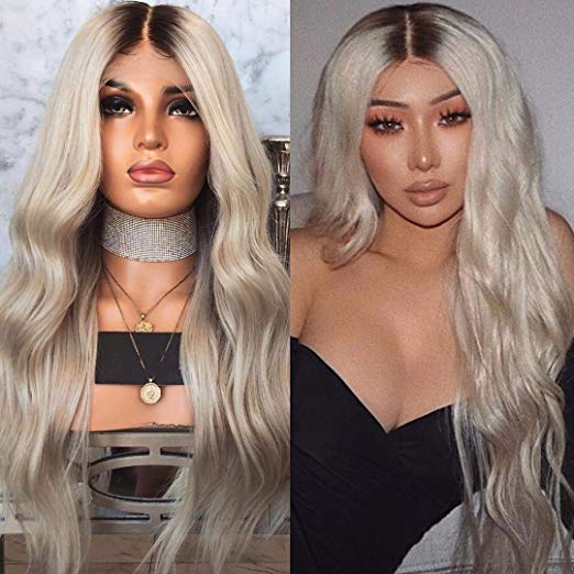 Ombre Grey Glueless Lace Front  Body Wave Style 150% Denisty with Baby Hair for Black Women