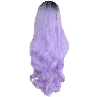Women's Fashion Front lace Wig Black Pueple Synthetic Hair Long Wigs Curly Wig