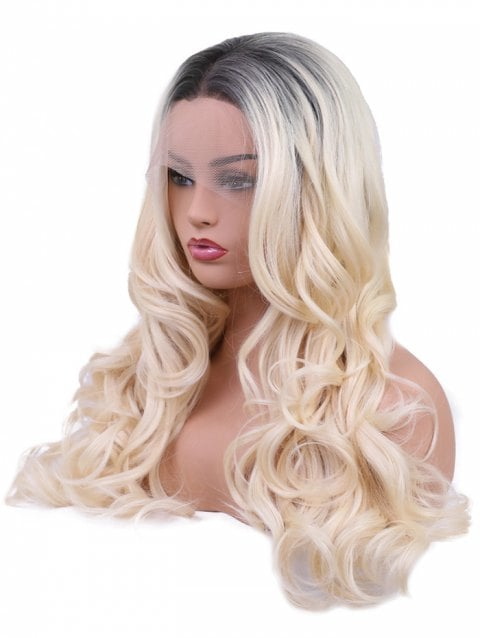 Long Center Parting Colormix Wavy Synthetic Party Lace Front Wig