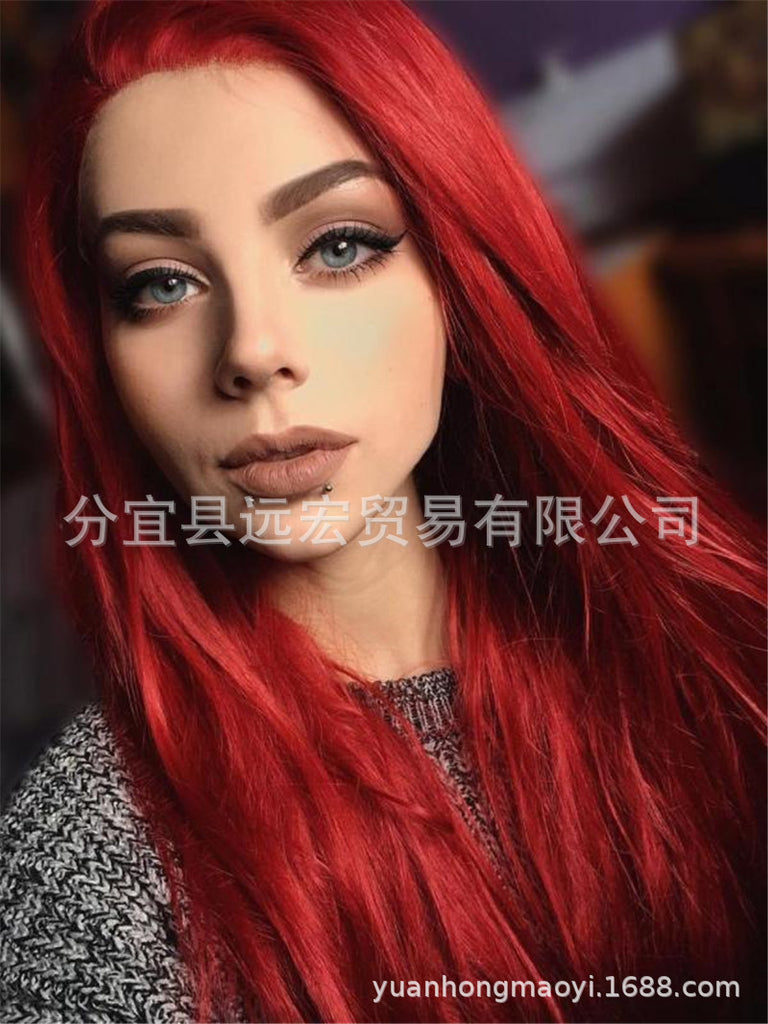 Long Straight Cospaly Wig Heat Resistant Synthetic Lace Front Party Wigs for Women/Free Shipping