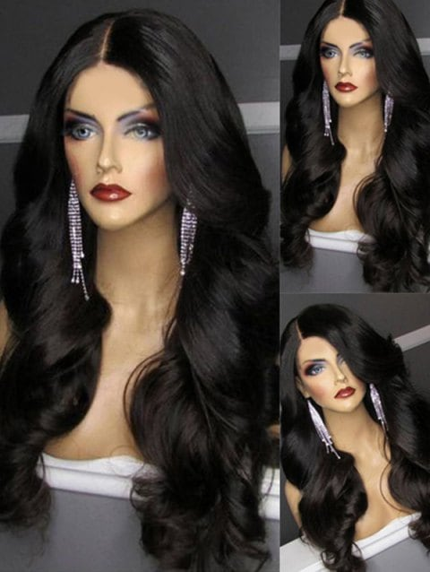 Ladystar Lace Front Wigs Middle Part Body Wave Long Synthetic Wig