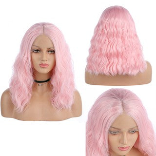 Heat Safe Natural Curly Lace Front Synthetic Wig Women Pink Long Wave Wavy Wigs