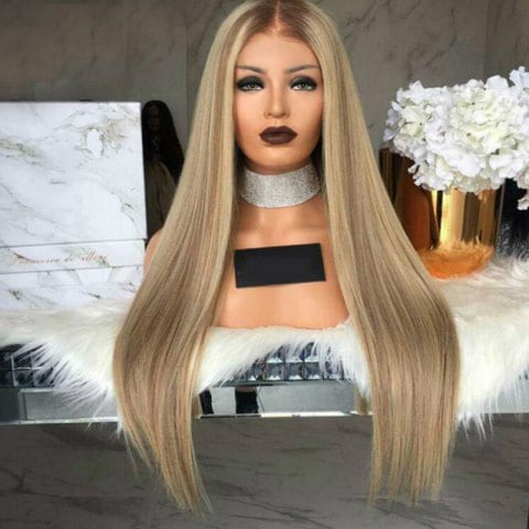 Medium Long Straight Hair Wig Dyed Gradient Wig Set