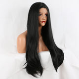 Fantasy Beauty 180% Half Handmade Long Natural Straight Lace Front Wig Black Glueless Heat Resistant Synthetic Hair Wigs