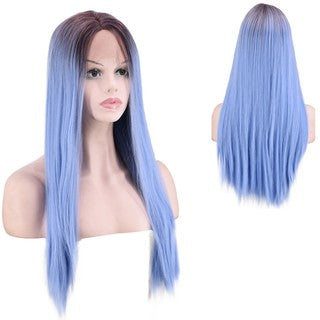 Natural Lace Front Synthetic Wig Fashion Women Mixed Purple Straight Long Wig