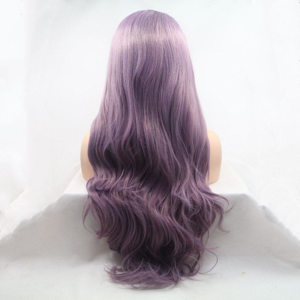 Ladiesstar Long Wavy Synthetic Lace Front Ombre Lavender Purple Wigs Natural Looking Lace Front Wig Fiber Hair For Women/Free Shipping
