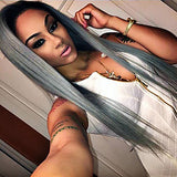 Lace Front Wig Straight Synthetic Hair Natural Hairline Gray