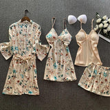 Womens Green Floral Print Satin Sleepwear 4 Pieces Set/Free Shipping
