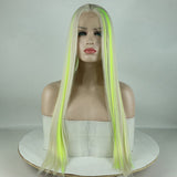 Fantasy Beauty Top Fashion Blonde Highlights Yellow Green Synthetic Lace Front Wig Mixed Color Lace Front Wig For Women