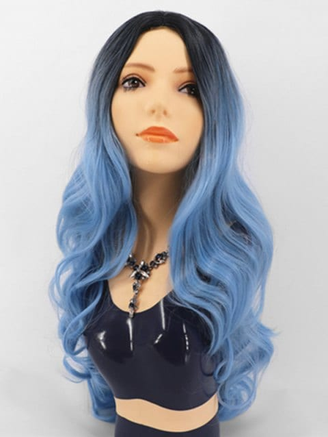 Foxwigs Lace Front Wigs Gradient Center Part Body Wave Long Hair Wig