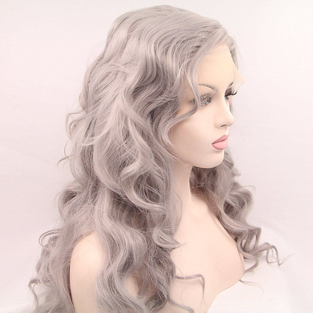 Ladiesstar Silver Grey High Temperature Heat Resistant Fiber Synthetic Lace Front Wig For Women