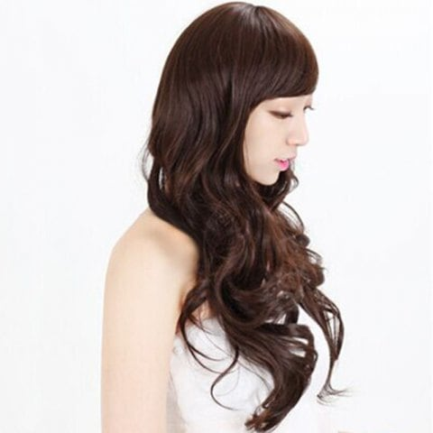 Long Curly Hair with Sloping Bangs and Realistic Facial Wig/Free Shipping