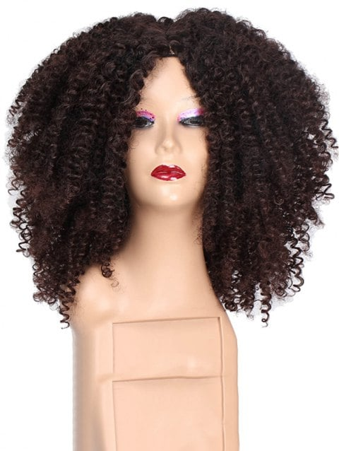Ladystar Lace Front Wigs Long Kinky Curly Center Part Synthetic Wig