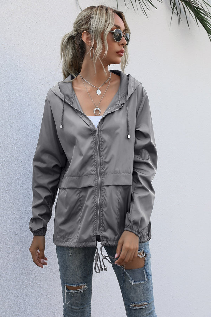 Women Hooded Waterproof Zipper Windproof Waterproof Raincoat Jacket/Free Shipping
