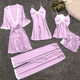 Womens Lace Trim Lingerie Sleepwear Set 5 Pieces/Free Shipping