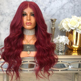 Wine Red Color Brazilian Wavy Remy Hair Long Part Pre Plucked natural hairline Baby Hair