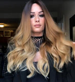 Long golden brown wave hair with lace front wig/Free Shipping