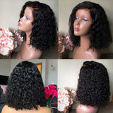 Short BOB Lace Front Wigs Deep Part Curly Brazilian Remy Black Water Wave for Women