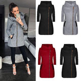 Women Fashion Side zipper plus fleece coat hooded jacket sweater/Free Shipping