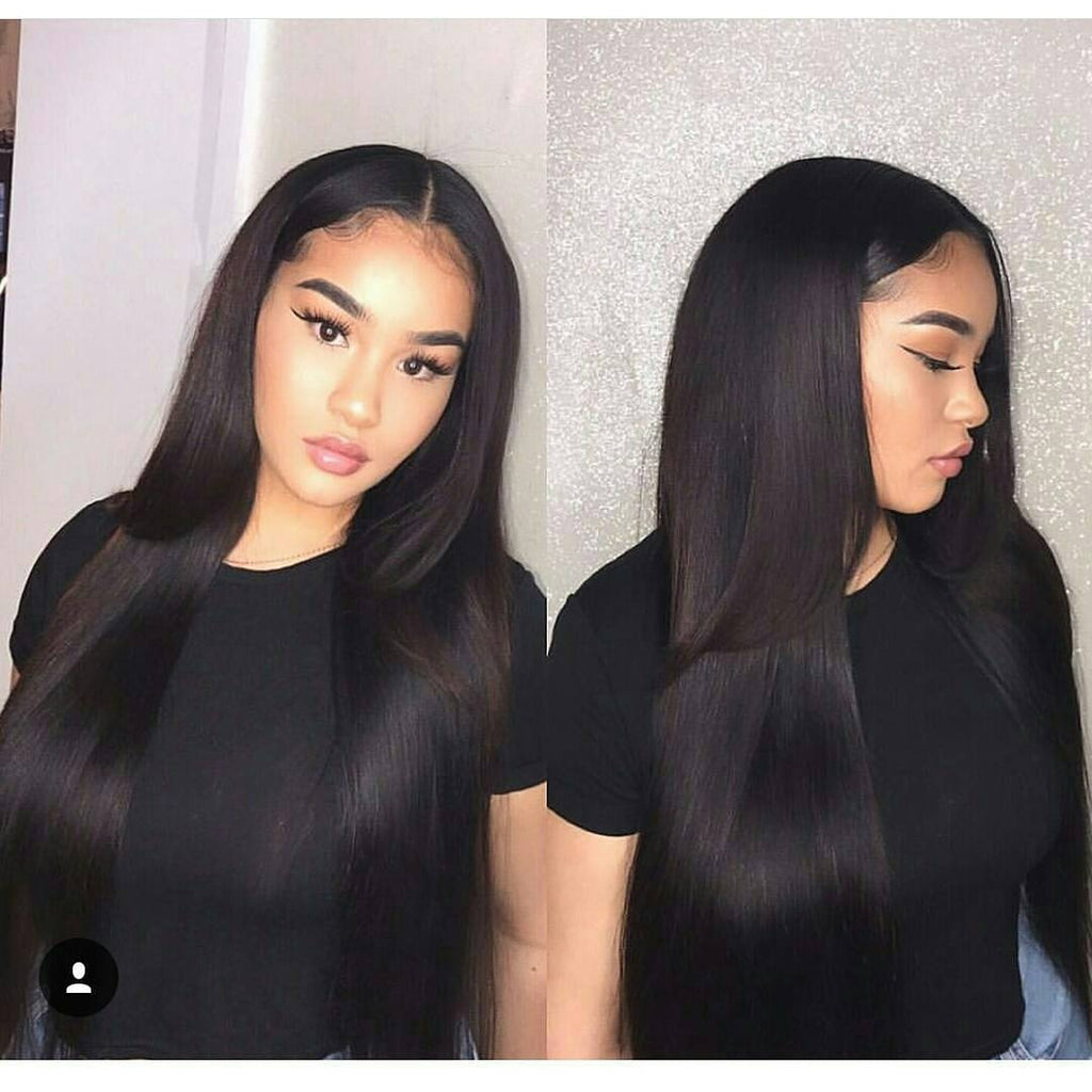 Center Parting Long Straight Party Synthetic Fiber Lace Front Wig - Black 24inch/Free Shipping