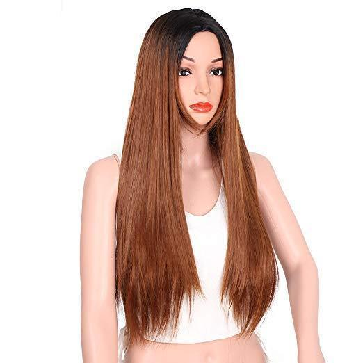 Dark Roots Long Straight Synthetic Two Tone Grey Wigs for Women
