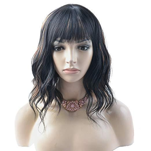 Short Curly Women Girl's Charming Synthetic Wig with Air Bangs Wig Cap Included