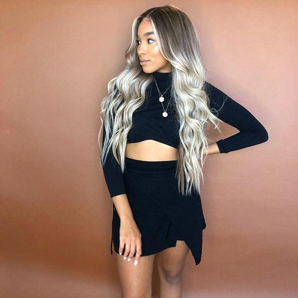 Beauty-Wig Long Wavy Wigs for Black Women 100% Synthetic Fiber Hair/Free Shipping