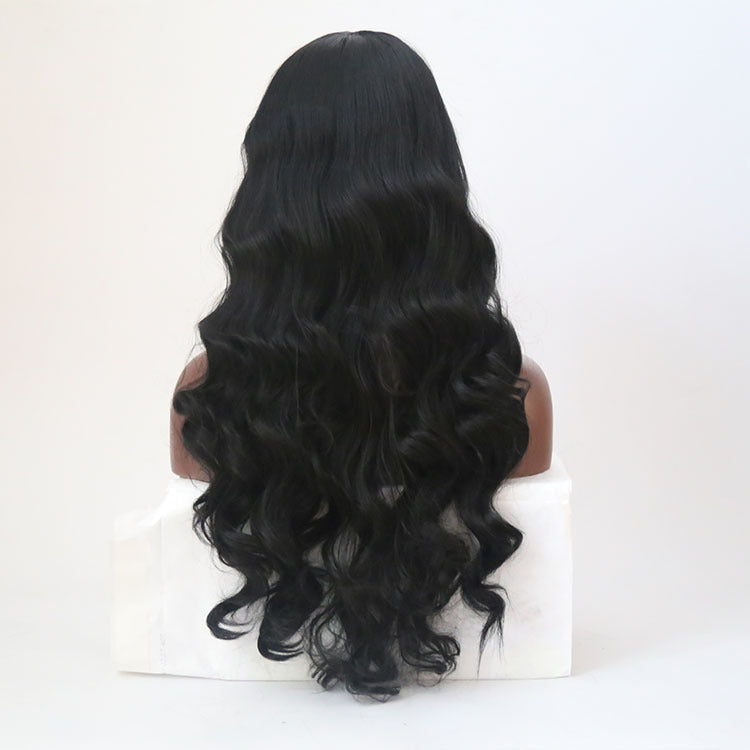 Synthetic Wig Wavy Kardashian Style Capless Wig Black Natural Black Synthetic Hair/Free Shipping