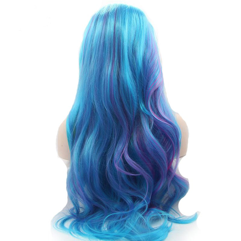 Ladiesstar Blue Mixed Purple Yellow Synthetic Lace Front Wigs Fashion Ombre Lace Front Wig For Women/Free Shipping